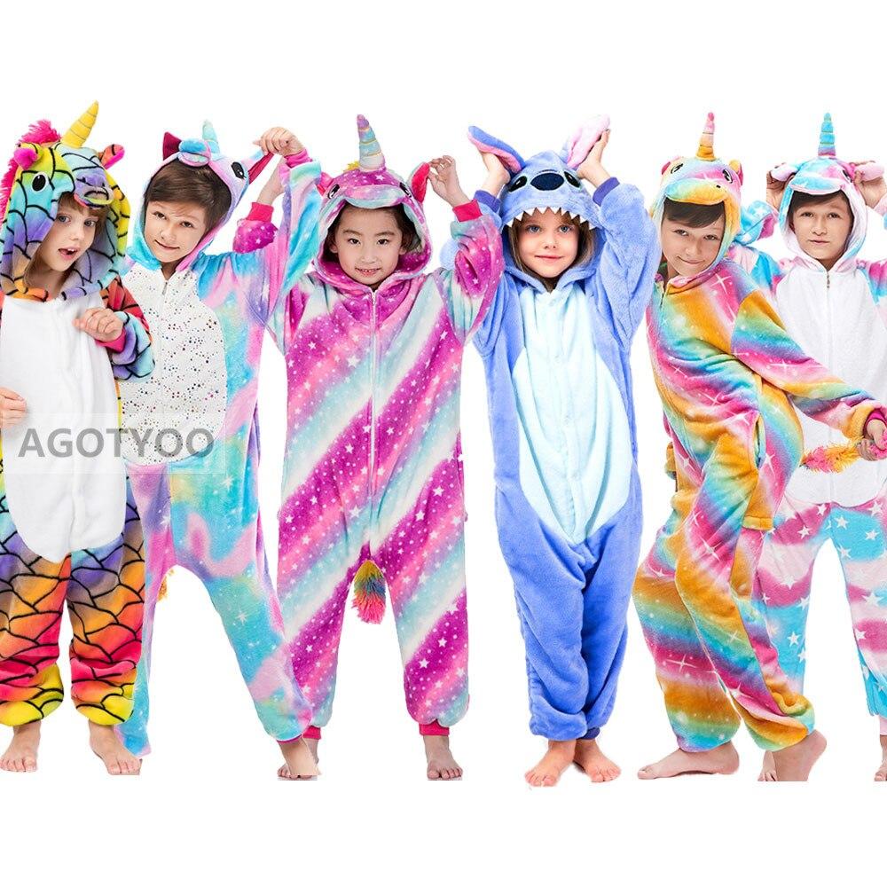 Women Kids Winter Unicorn Pajamas Animal Sleepwear Kigurumi Girls Boys Onesies Unisex Adults Flannel Pajama Sets Hooded Pyjamas