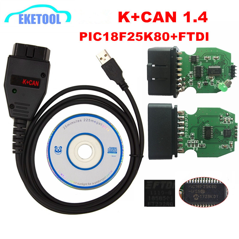 For VAG K+CAN Commander 1.4 Green PCB PIC18F25K80 FTDI FT232RQ Chip For AUDI/VW/Skoda/Seat For VAG K+CAN 1.4 K-Line Commander