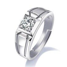 S925 Silver Men's Open Ring Atmosphere Fashion 8MM Ring Men's Set Rhinestone Engagement Ring Wedding Anniversary Jewelry VR607 цена в Москве и Питере