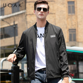 цена на UCAK Brand Jacket Men Free Shipping Solid Zipper Jackets 2020 New Fashion Polyester Chaquetas Hombre Clothes Free Shipping U8041