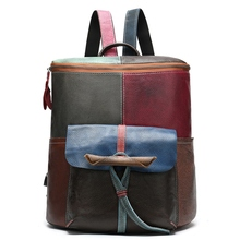 Leather Handmade Vintage Women Backpack Female Bags Cow Leather Backpack Patchwork Colorful Bag