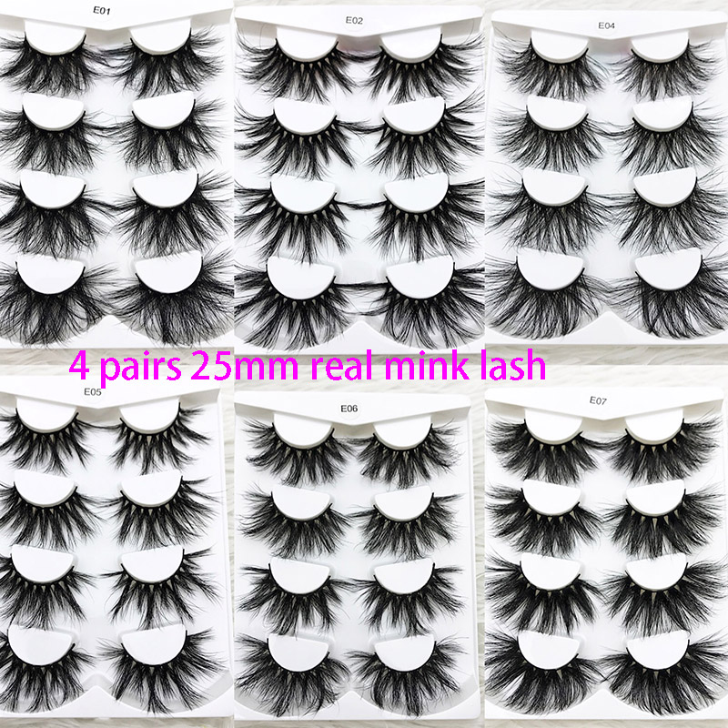 4 Pairs Mikiwi 25mm Real Mink Eyelash Extra Length And Fluffy 3D Mink Eyelash Extention  100% Natural  Handmade Eye Makeup Tools
