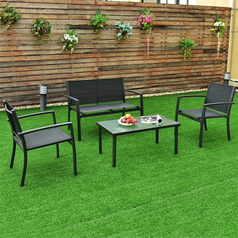 4 Pcs Patio Steel Frame Coffee Table Furniture Set Sturdy Powder-coated Metal Frame Outdoor Furniture