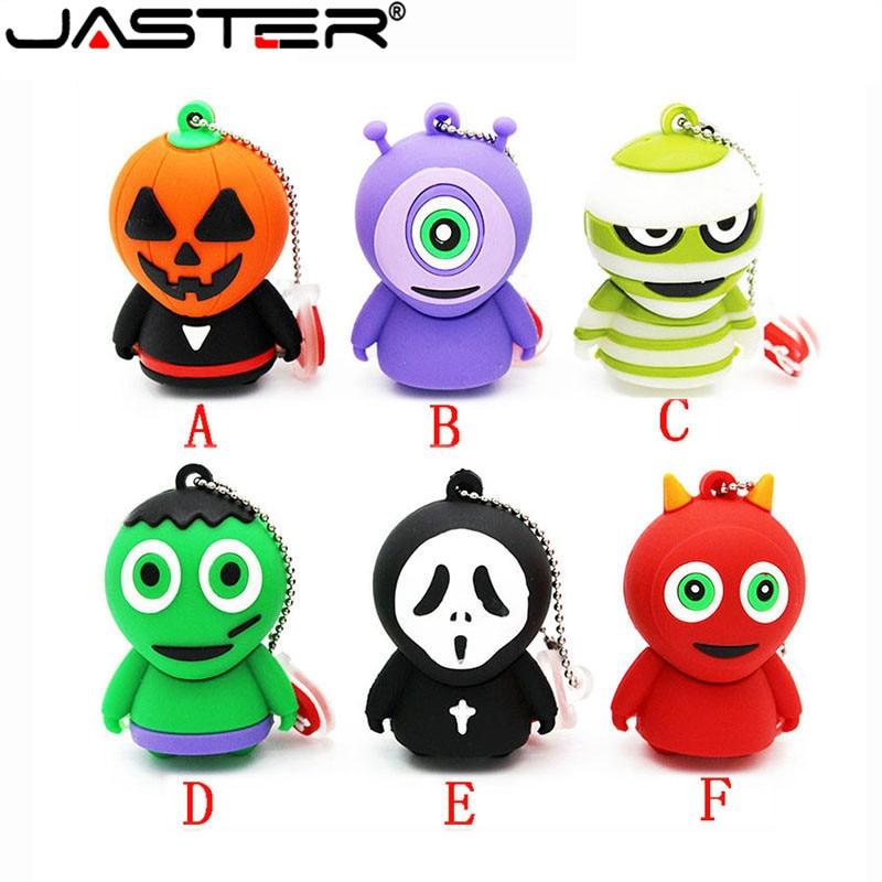 JASTER Horrific Ghost USB Flash Drive Pen Drive Cartoon U Disk Memory Stick Pendrive 4GB 8GB 16GB 32GB 64GB Halloween Gifts