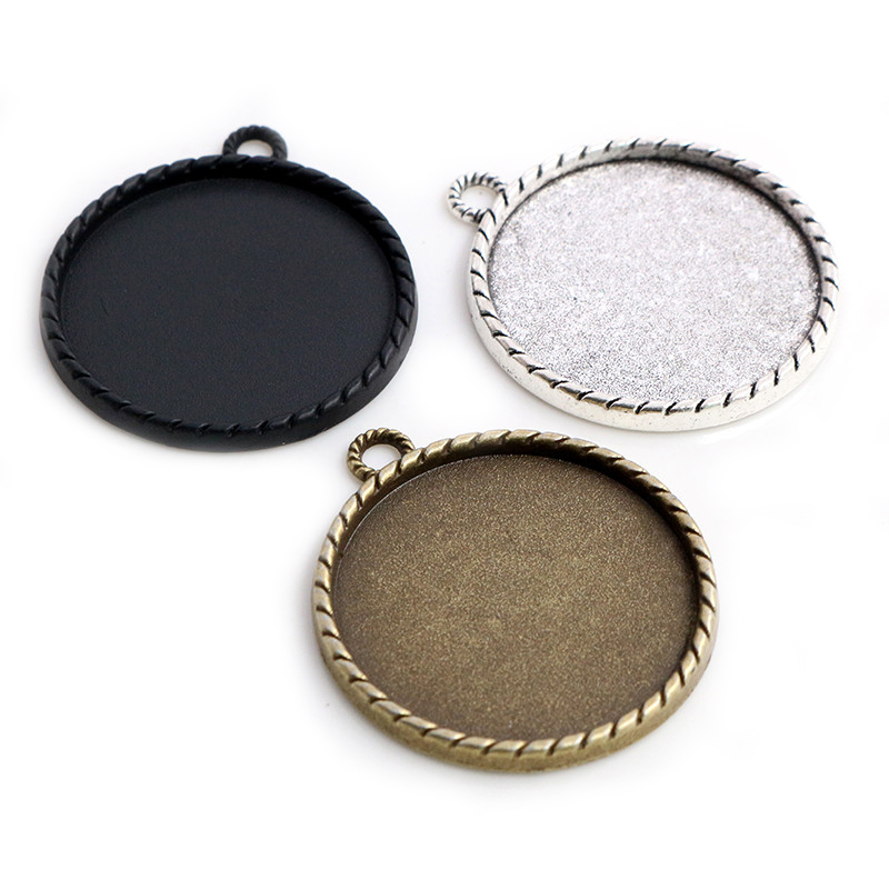 5pcs/Lot 30mm Inner Size Antique Bronze Silver Plated And Black Colors Classic Line Style Cabochon Base Setting Charms Pendant
