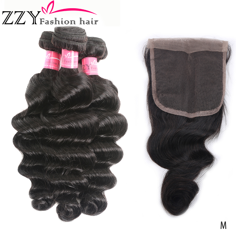 ZZY Fashion Hair Loose Deep Wave Hair Bundles With Closure Non-remy Human Hair Weave Bundles Peruvian 3 Bundles With Closure