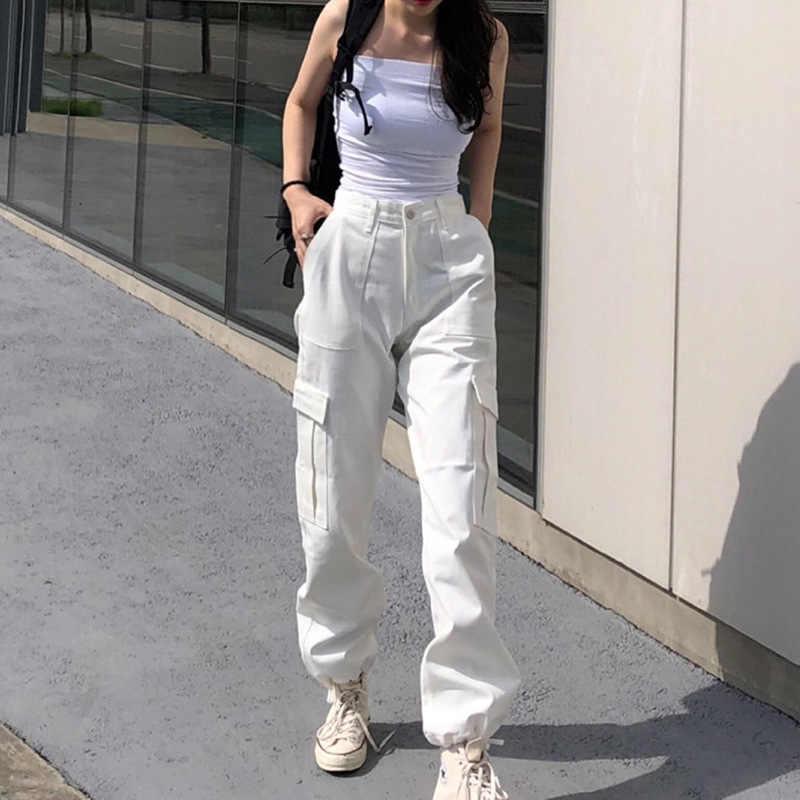 Harajuku Alta Cintura Cargo Pantalones Mujer Negro Blanco Casual Sweatpants Moda Coreana Senoras Pantalones Pocket Streeetwear Pantalones Y Pantalones Capri Aliexpress