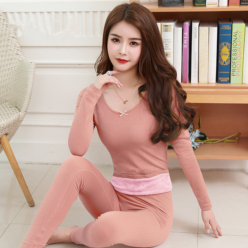 Plus Velvet Thickening Set Womens Thermal Underwear Winter Long Johns Second Skin Winter Female Two Piece Ladies Thermal Suit