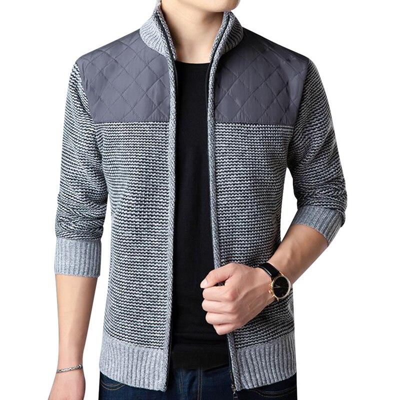 2019 Casual Cotton Cardigan Men Slim Fit Zipper Sweater Oversize Patchwork Knitwear Autumn Stand Collar Sweater Coat Jacket Male