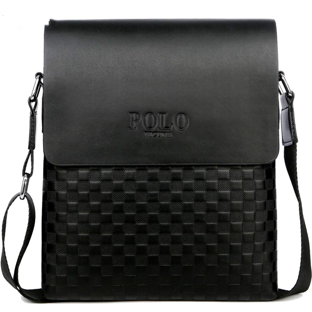 Classic Plaid Design Business Men's Bag Retro Brand Men's Handbag Casual Plaid Shoulder Bag For Men