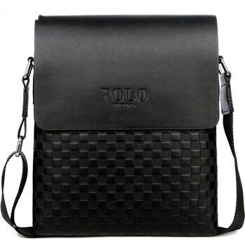 цена на Classic plaid design business men's bag retro brand men's handbag casual Plaid shoulder bag for men