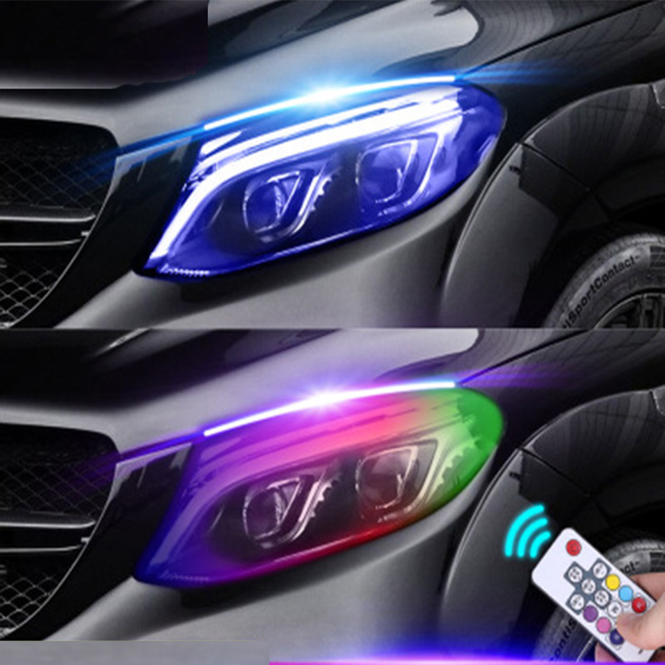 2pcs Newest Magic Color Car LED Daytime Running Lights Auto Flowing Turn Signal Guide Strip Headlight Assembly Car Styling 12V