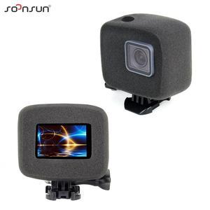 Image 2 - SOONSUN Wind Noise Reduce Foam Cover Windshield Sponge + Frame Mount + Camera Lens Cap for GoPro Hero 7/6/5 Go Pro Accessory Kit