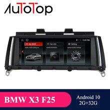 Autotop autoradio unidade de cabeça navegação gps android bmw para bmw x3 f25 x4 f26 cic nbt sistema reprodutor multimídia carro rádio wifi