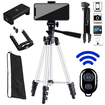 Portable Adjustable Tripod Lightweight Camera Stand Mount Holder Clip Bluetooth Remote Control For Phone Live Youtube Cellphone