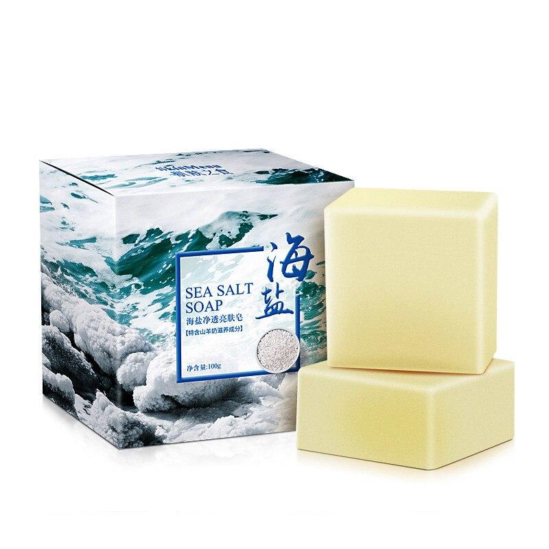 100g Removal Pimple Pore Acne Treatment Sea Salt Soap Cleaner Moisturizing Goat Milk Soap Face Care Wash Basis Soap TSLM1 Makeup