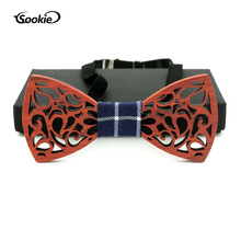 New Style Hollow out Wooden Bow Tie Natural Solid Wood Wood Bow Tie Men Women's Casual Bowtie Wedding Wooden Bow Tie Wooden Bow premium handmade wooden bow tie for men