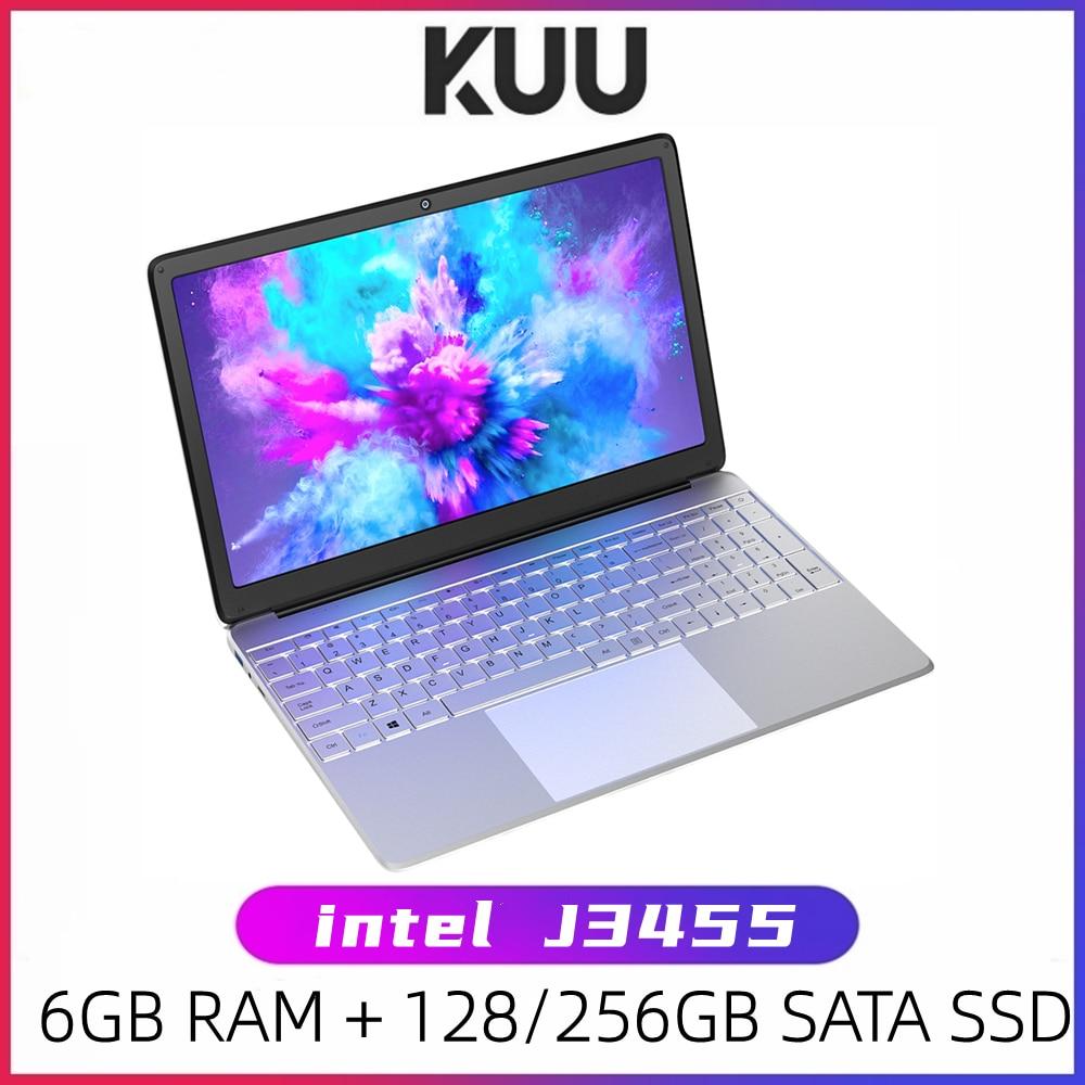 KUU A8S 15.6 inch Student Laptop 6GB RAM 256GB SSD Notebook For intel J3455 Quad Core Ultrabook With Webcam Bluetooth WiFi 1