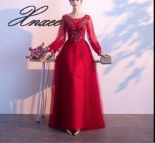 Long-sleeved dress 2019 new spring noble banquet long section Vestido de novia
