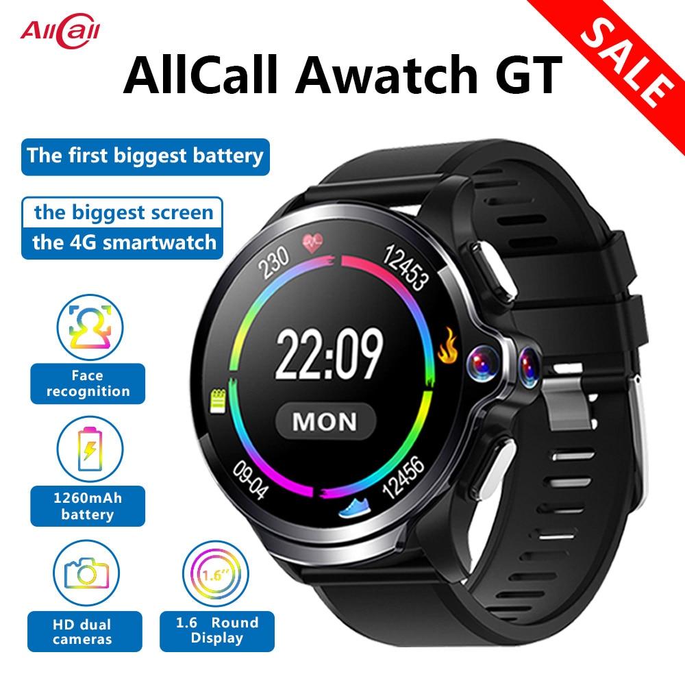 Original Allcall Awatch GT 4G Waterproof Smart Watch 3GB 32GB 1260mAh Battery 1.6 Inch Dual Camera Face ID Smartwatch Phone