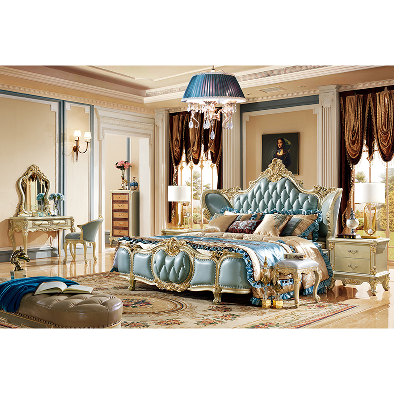 european style italian royal beds cama antique gold luxury king size master bedroom furniture sets