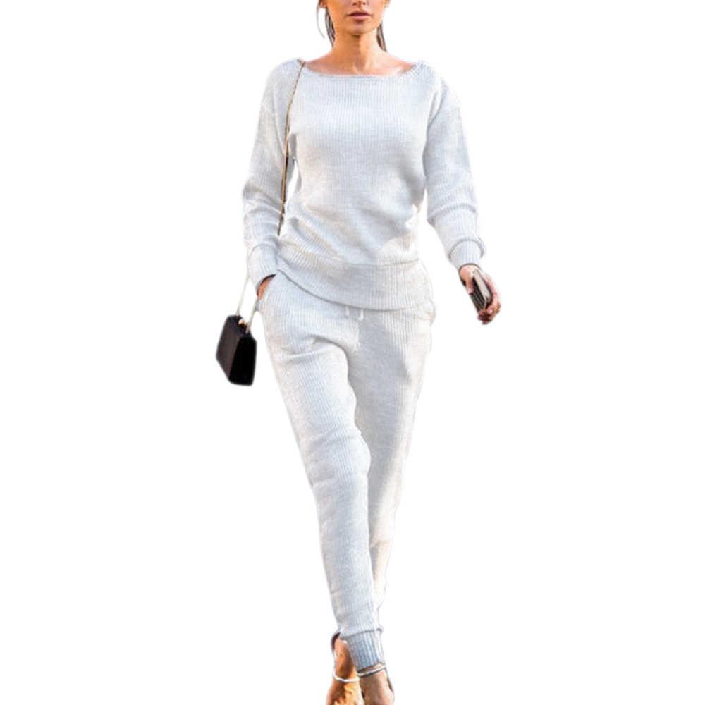 シュージン 2019 新ファッション女性秋冬 O ネックセータースーツカジュアルニットセーターパンツ 2 個セット女性のトラックスーツ