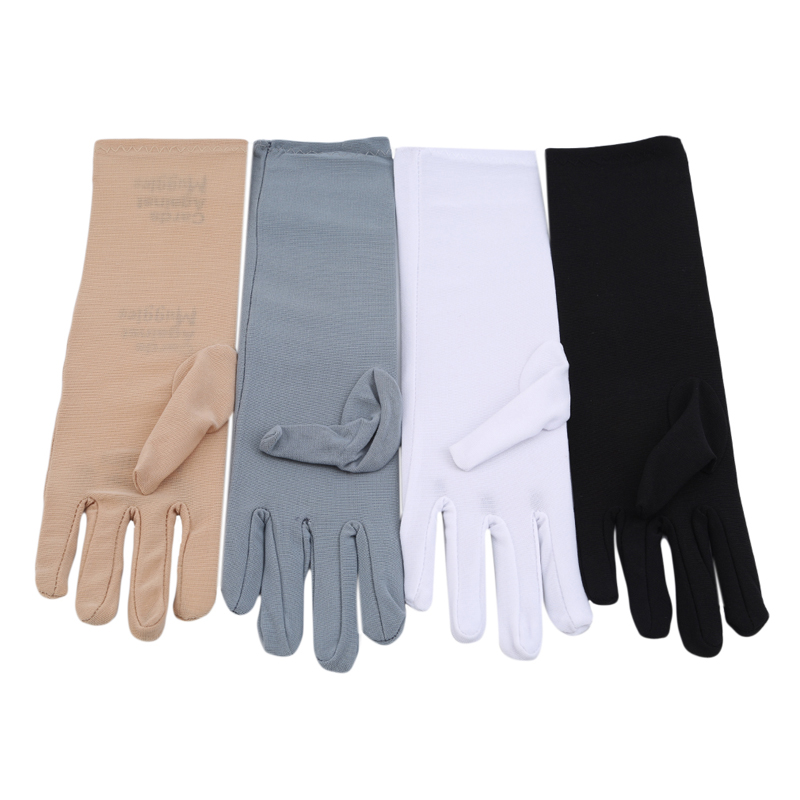 New Summer Lady Spandex  Medium-Long Sunscreen Embroidered Gloves Female Thin Elastic Etiquette Driving Gloves Foe Women Luvas