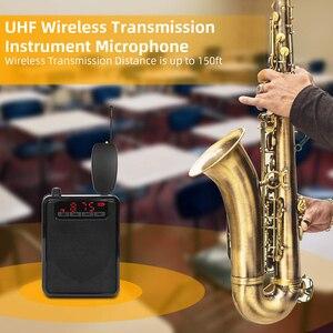 Image 3 - UHF saksofon Mic bezprzewodowy system mikrofonowy klip na instrumenty muzyczne na saksofon trąbka Sax Horn Tuba flet klarnet rury