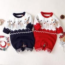 Autumn Overalls for Children Christmas Reindeer Knitted Newborns Girls Rompers Infant Boys Long Sleeve Jumpsuits Kids Clothing christmas reindeer knitted newborn baby boys girls romper jumpsuit winter kids costume long sleeve pajamas overalls for children