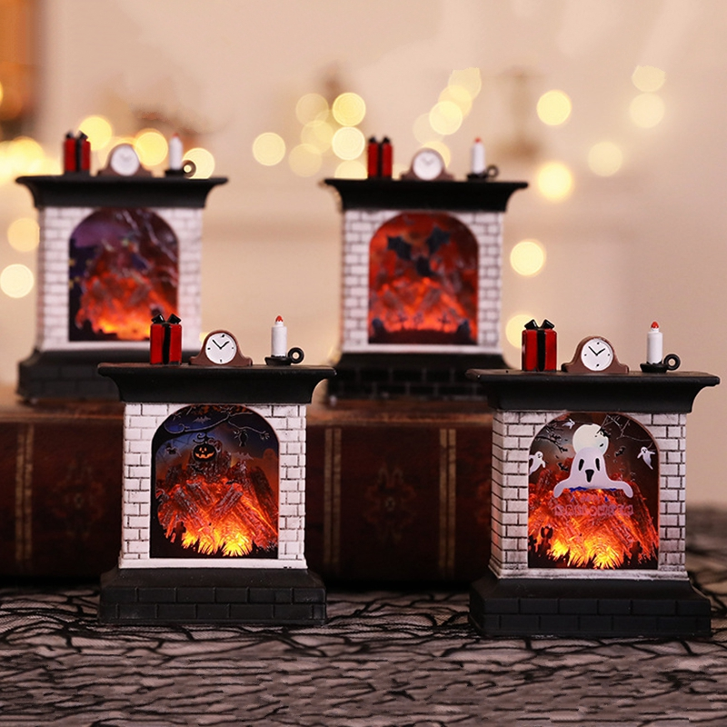Mini Fireplace Light Halloween LED Creative High Quality Terror Holiday Decoration 8*3.8*11CM High Quality Glowing Flame Lamp