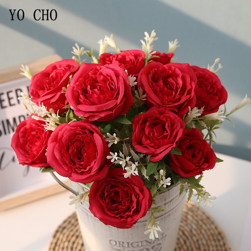 YO CHO 12 Heads Roses Artificial Flowers For Wedding Bouquet Home Decoration Rose Silk Large Fake Flowers Head Luxury Plast Stem