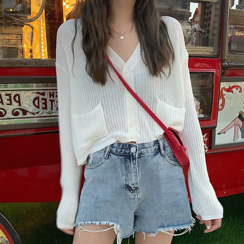 2020 Women Long Sleeve Knitted Casual Cardigan V-Neck Thin Sweater Button Up Summer Sun Protection Sweater