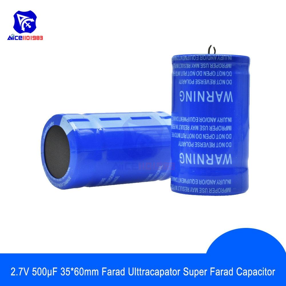 Diymore Super Farad Capacitor 2.7V 500F 60*35mm Low ESR High Frequency Super Capacitor 2.7V500F 60x35mm For Car Power Supply