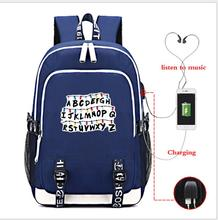multifunction USB charging for teenagers boys Student Girls School Bags Stranger Things Backpack travel Luminous Bag Laptop