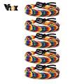 Vnox Casual Geflochtene Regenbogen Farbe Seil Kette Armbänder für Frauen Männer, Unisex Armband Geschenke Schmuck, Länge Verstellbar