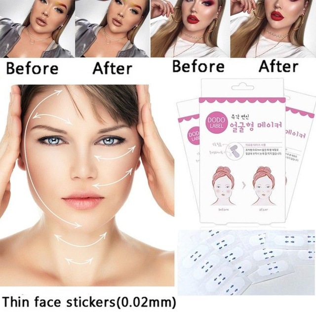 80/40/8pcs Lift Face Sticker Instant Waterproof V Shape Breathable Makeup Adhesive Tape Invisible Lifting Tighten Chin 2021 Slim 3