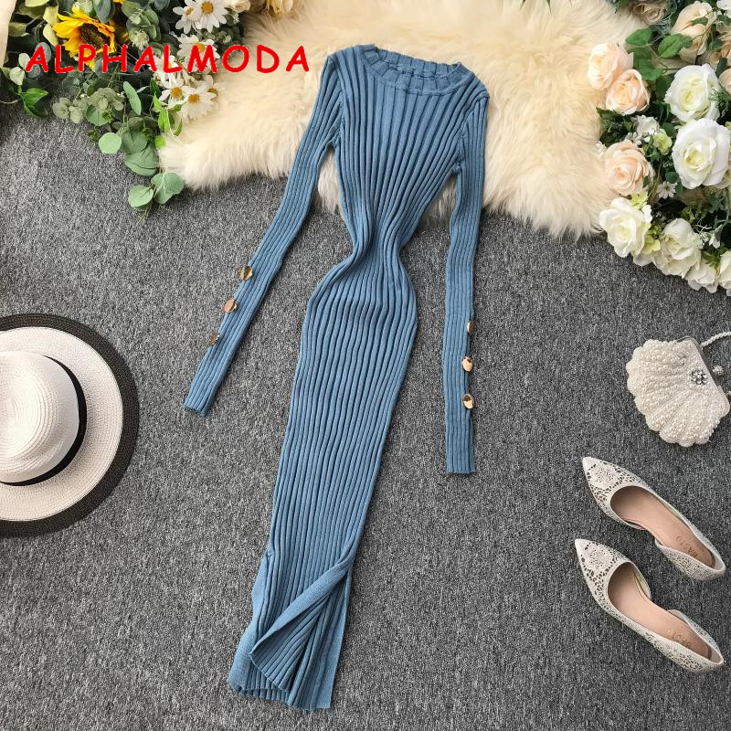 ALPHALMODA French Dress 2019 Popular Buttons Sleeve Pullovers Tunic Dress Knitting Sweater Dress Solid V-neck Sexy Step Dress