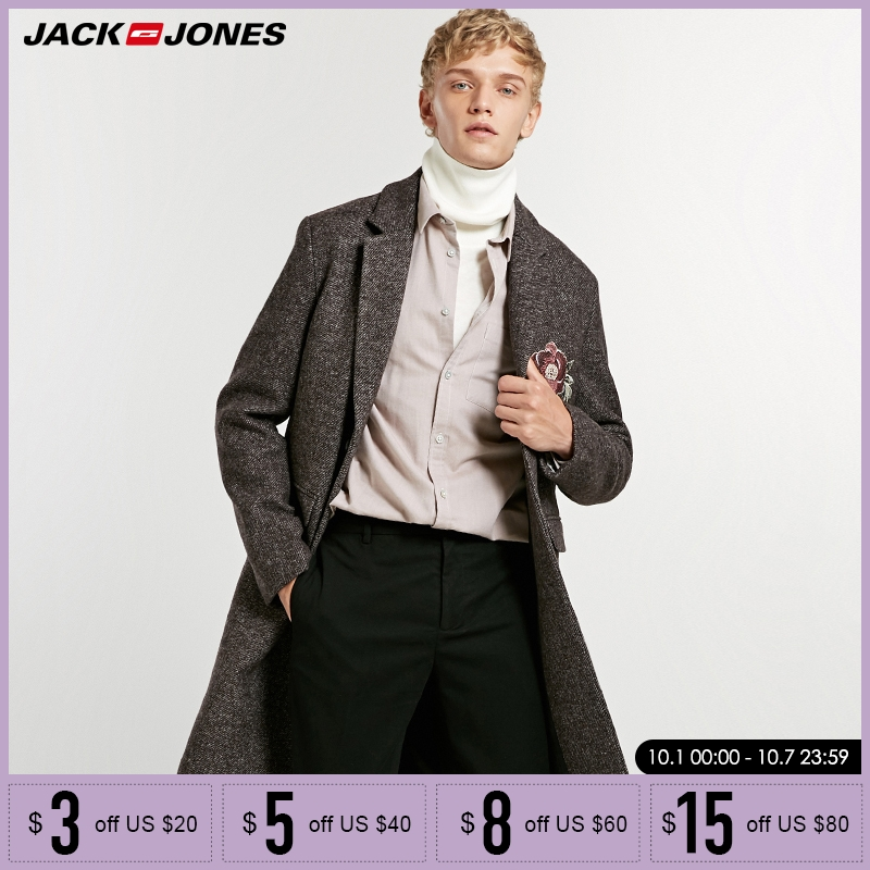 Jack Jones hafty połowy długi płaszcz wełniany kurtka Parka  218327523 w Wełna i mieszanki od Odzież męska na  Grupa 1