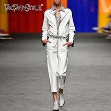 TWOTWINSTYLE мозаичное яркое цветное комплект из двух предметов для женщин с длинными рукавами и высокой талией, брюки на шнурке женский костюм Осенняя мода