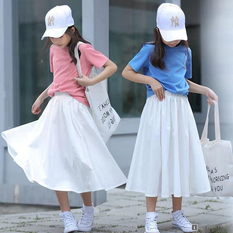 Teen Girls Long Skirt Spring Summer Girls Skirt Elastic Waist All-match Casual Black White Stitching Ruffle Skirt 10 12 13 Year