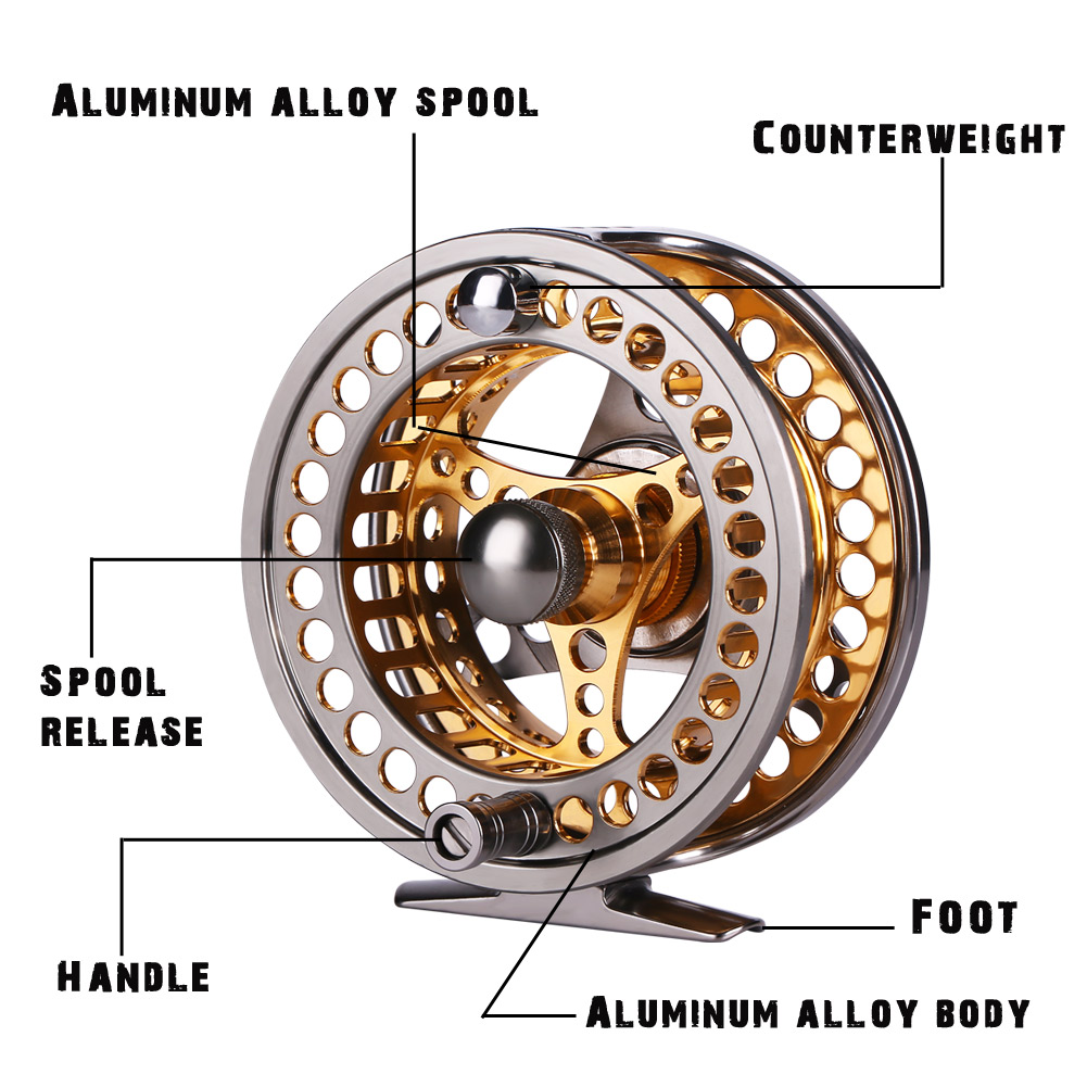 Sougayilang Large Arbor Fly Fishing Reel 2+1 BB High Die Casting Aluminium Alloy Spool Fly Reels Fishing Tackle 11