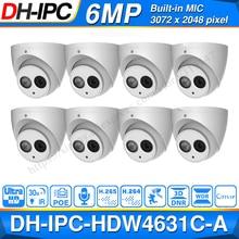 Оптовая Продажа DH 6MP IP камера IPC HDW4631C A Обновление от IPC HDW4431C A POE Мини купольная камера Встроенный микрофон CCTV камера Металлическая 8 шт./лот