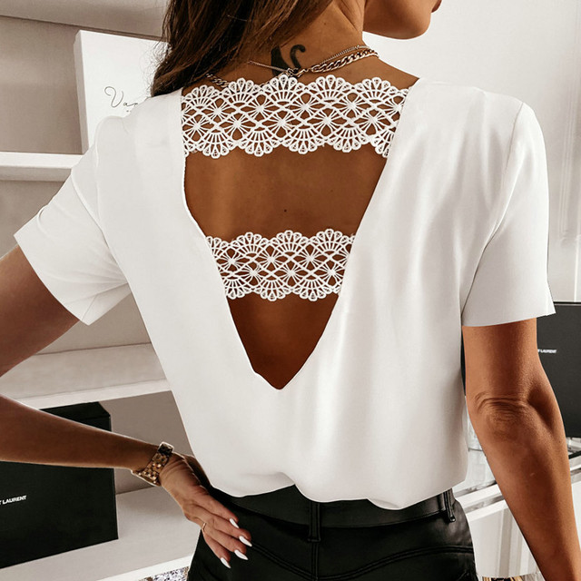 #S0 F# Women Solid Elegant Blouse V-neck Short Sleeve Elegant Office Lady Slim Sexy Casual Blouses Tops Temperament Shirts Кофта 1