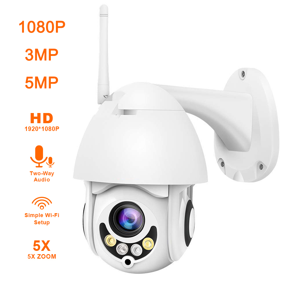 2 Pcs Wireless HD 1080P WiFi 5X ZOOM IR-CUT CCTV Outdoor IP Camera Home Security
