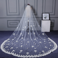 1 T Appliques Lace Flower Chapel Length Wedding Bridal Veil With Comb Wedding Accessories