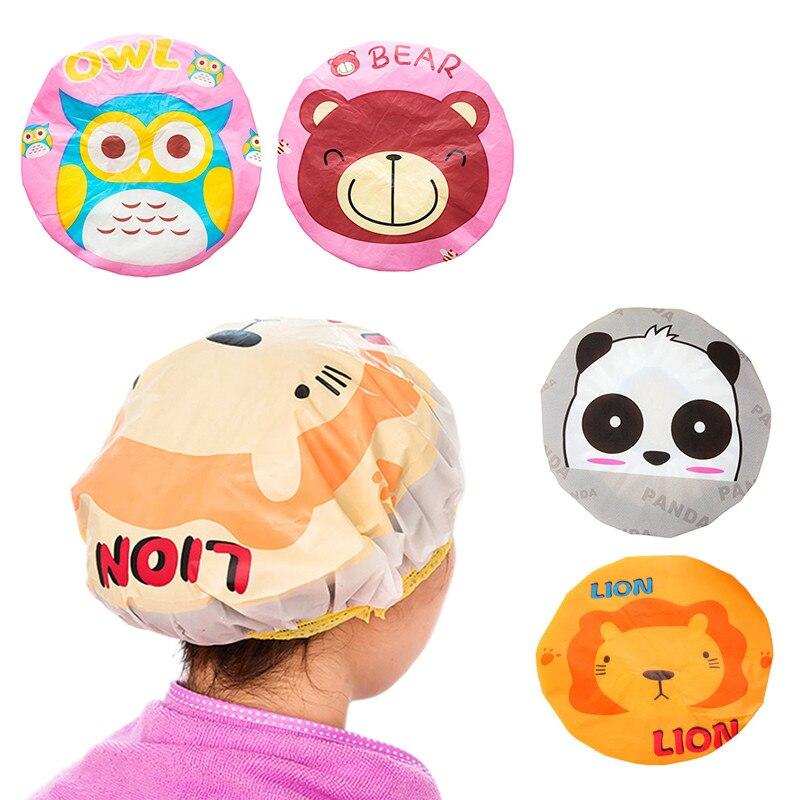 Gorro de ducha de PVC reutilizable para niños, gorro para el pelo de Animal de dibujos animados, para Sauna, productos de baño, gorro de ducha impermeable para mujer