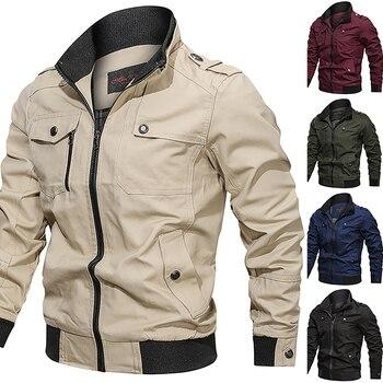 Military Pockets Zipper Jacket Men Spring Autumn Cotton Windbreaker Pilot Coat Men's Bomber Jackets Cargo Flight Jacket 1