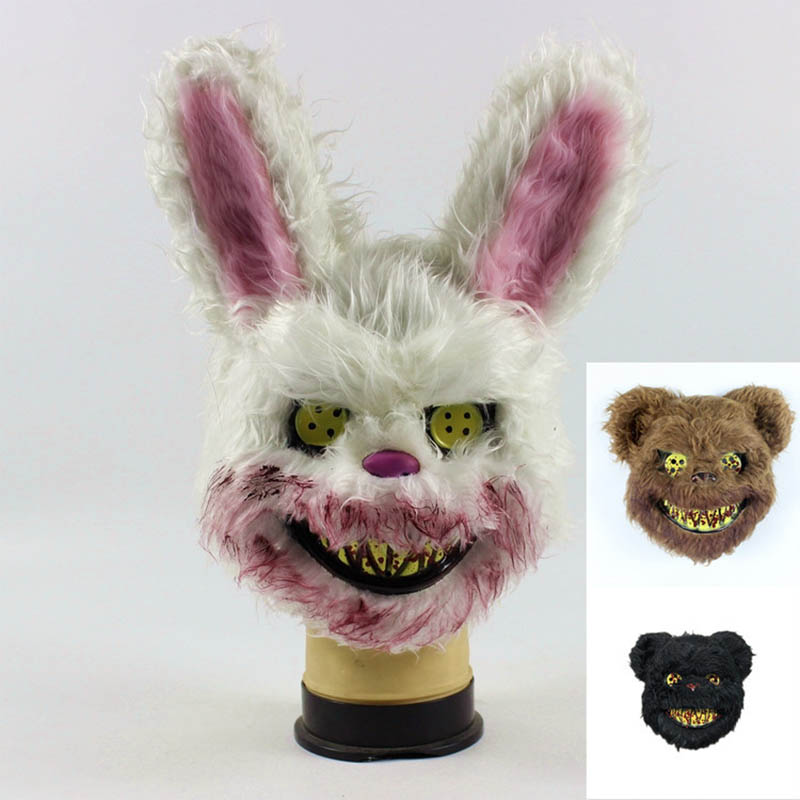Hot 2019 Halloween Mask Teddy Bear Mask Bloody Killer Bunny Mask Horror Plush Masks For Kids Adults Cosplay Halloween Supplies