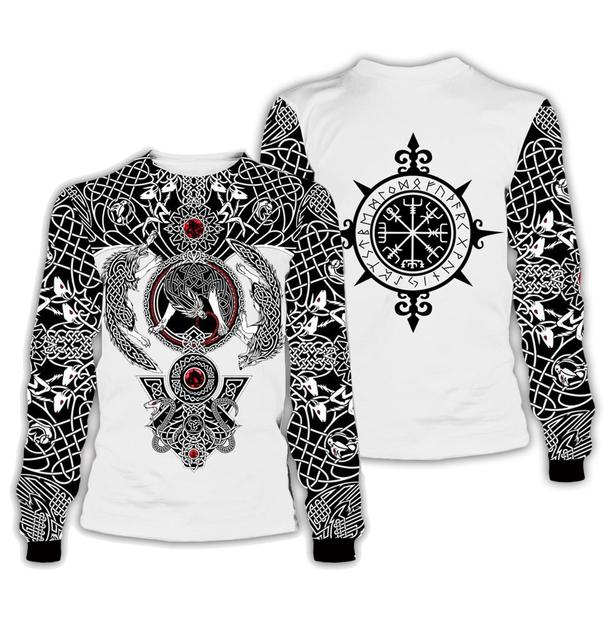 3D Viking Tattoo All Over Printed Unisex Hoodie 2