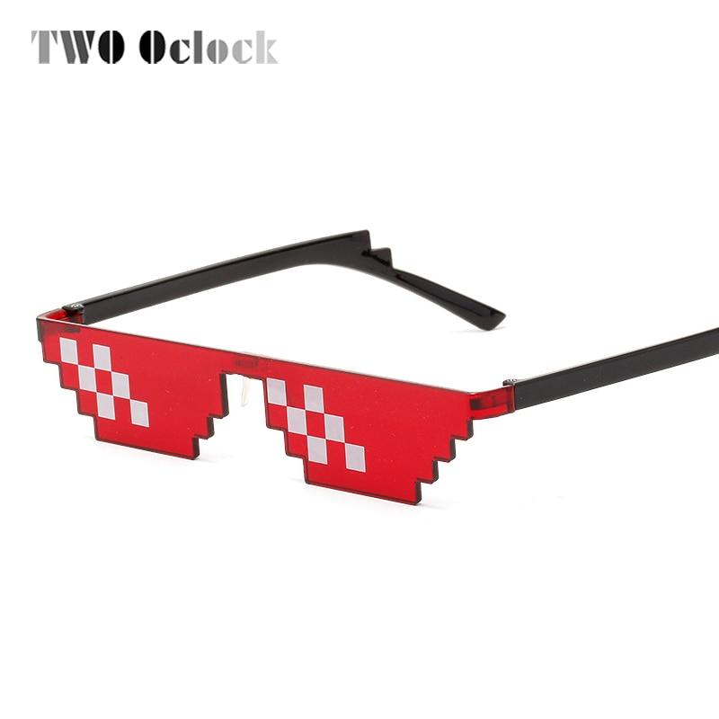 Unisex Retro Pixel 8 Bit Party Gamer Glasses Pixelated Style Square Sunglasses